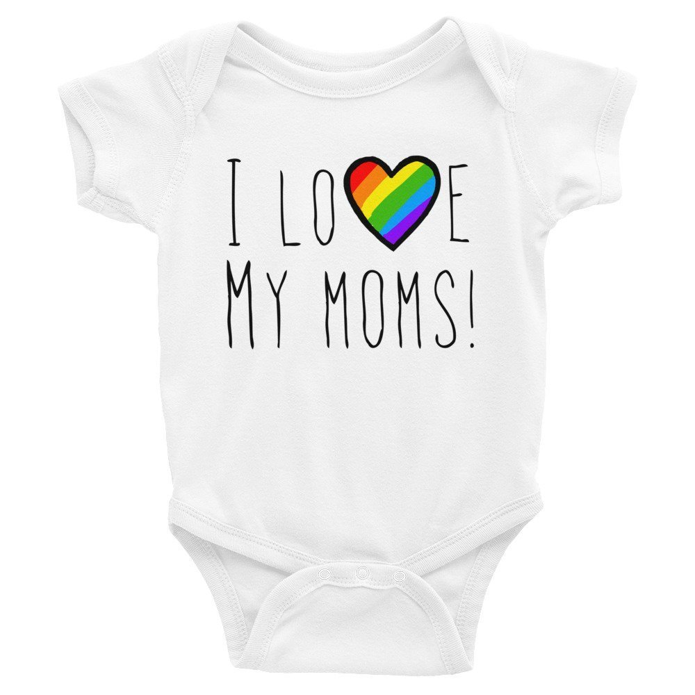 I Love My Moms Rainbow Heart Pride Infant Bodysuit New Baby LGBT Two Mommies Unisex Jumper New mom Shower Gift