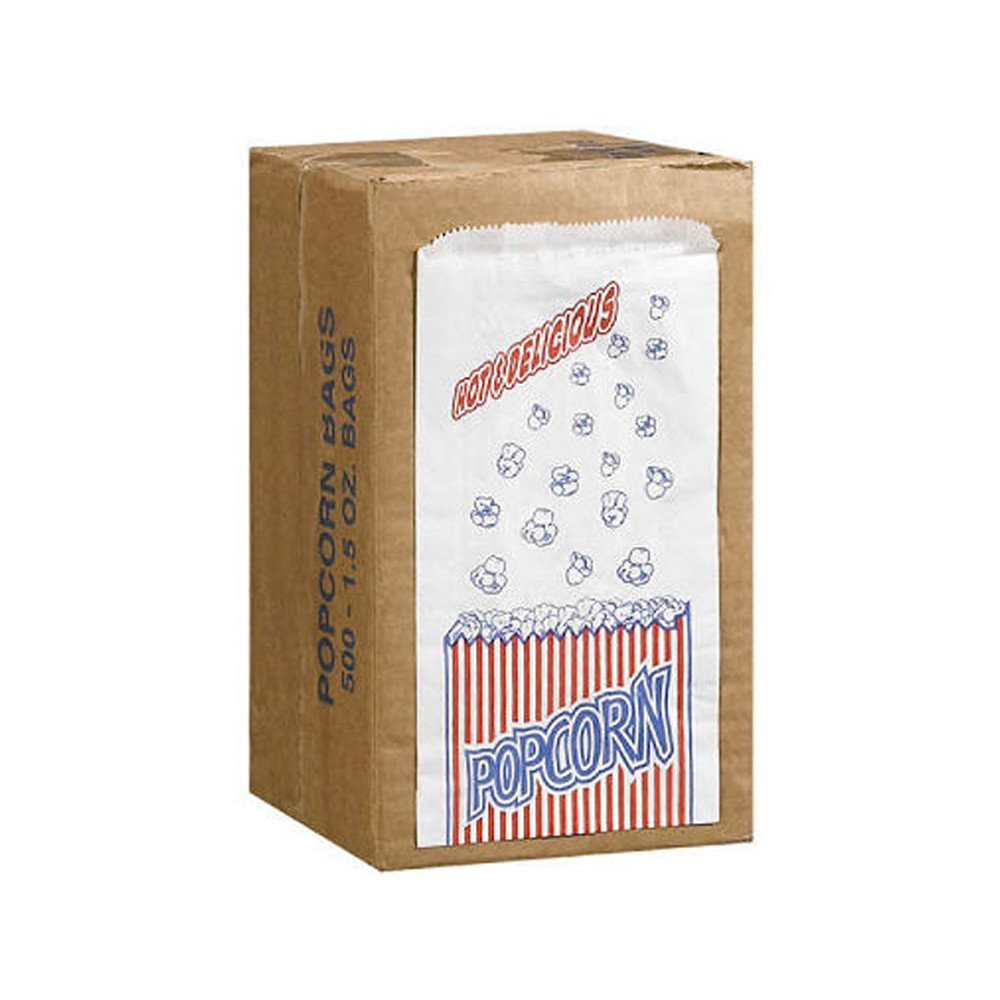 Duro ID# 13568 Popcorn Bag 25# White Pinched Bottom 500pk 5-1/2 x 9-1/2 by Duro (Image #1)
