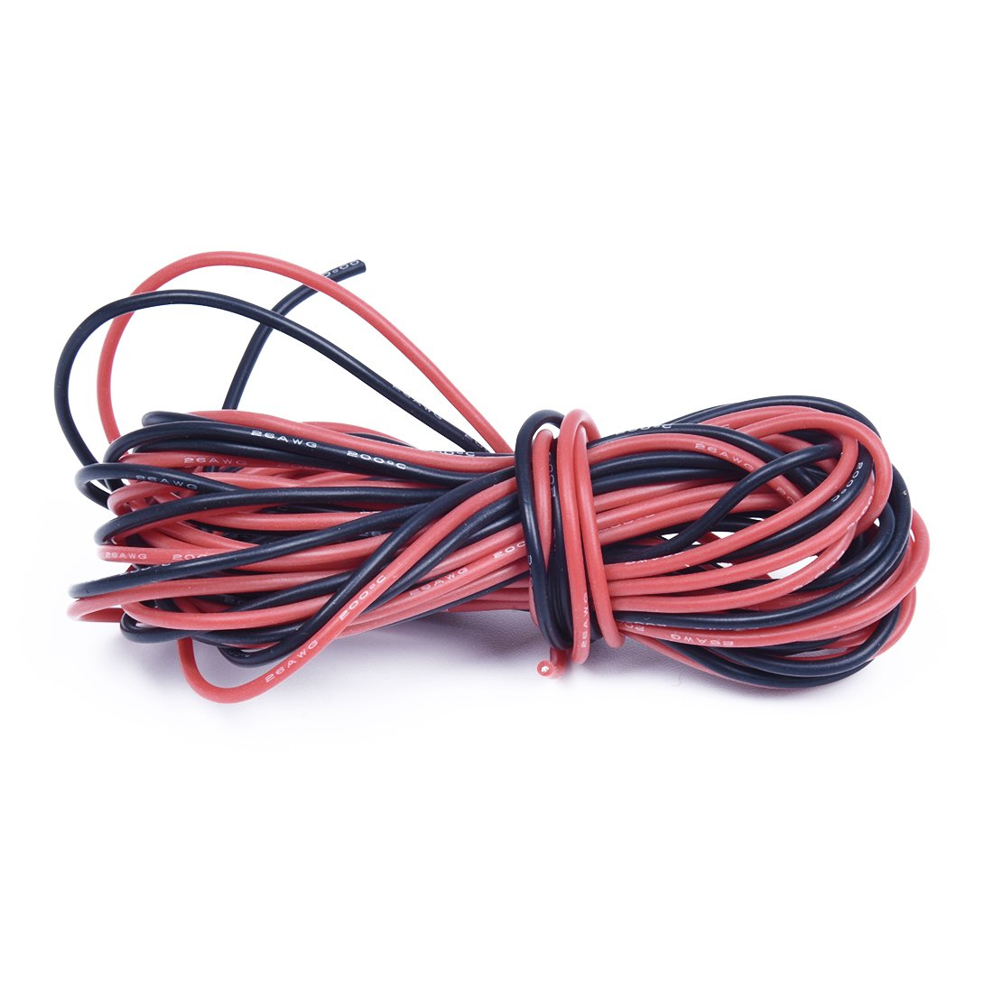 SODIAL(R) 2x 3M 26 Gauge AWG Silicone Rubber Wire Cable Red Black Flexible
