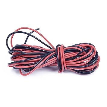 SODIAL(R) 2 x 3M 26 Gauge AWG Silikon-Gummi-Draht-Kabel Rot Schwarz ...