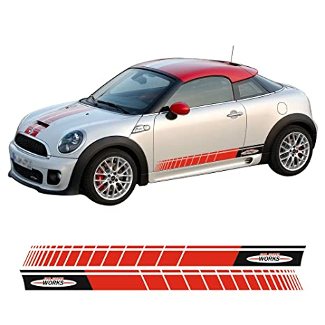 2 Pieces Blackred Jcw John Cooper Works Side Door Racing Stripes Skirt Sill Vinyl Decal Sticker For Mini Cooper S Coupe Jcw