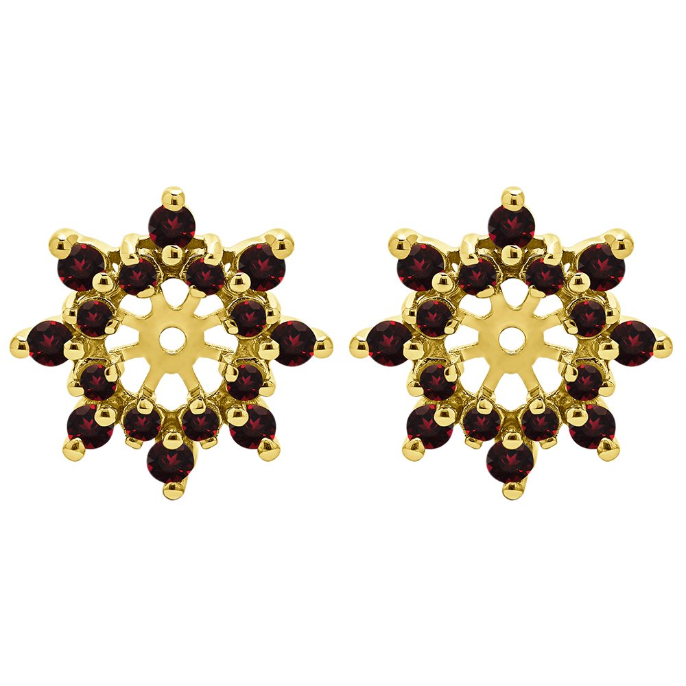 1/2 ct. Diamonds (G-H,I1-I2) and Ruby Genuine Ruby and Diamond Cluster Style Earring Jacket in 10k Yellow gold (0.48 ct. twt.) by TwoBirch