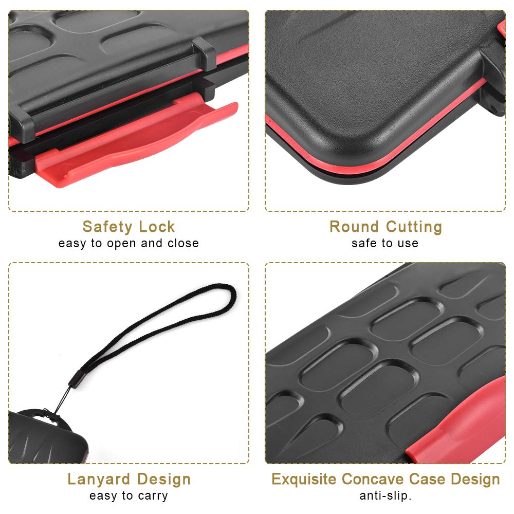 Rustproof Compact Flash Card Organizer Storage UTEBIT Professional SD Card Case Waterproof 24 Slots Shockproof Memory Card Holder Box Wallet with Lanyard for 12 SD Cards 12 Micro SD Cards TF Cards