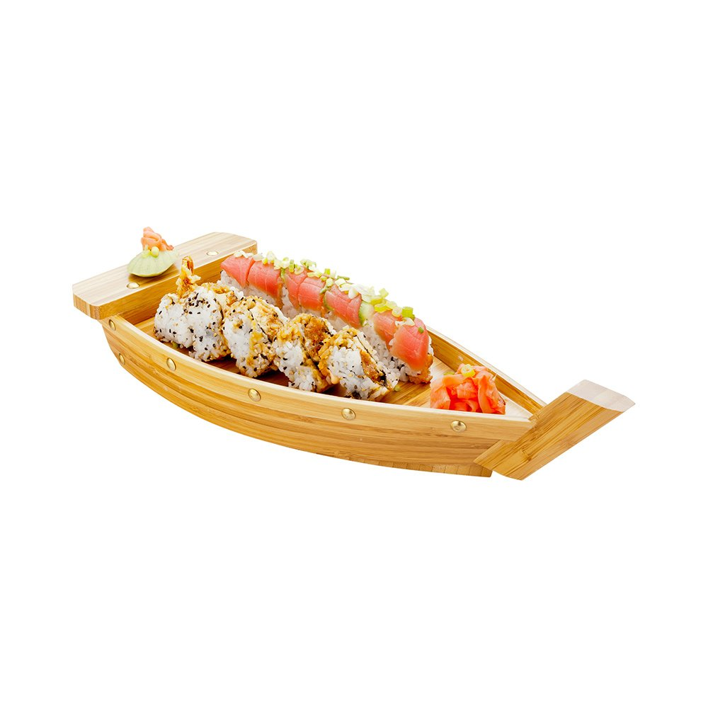 Large Bamboo Sushi Boat, Wooden Sushi Boat, Sushi Serving Boat, Sushi Boat Plate - 17.3 Inches - 1ct Box - Restaurantware