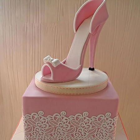 Set di 9 stampini, A forma di scarpa con tacco alto, Per dolci, Cioccolato fondente, pasta di zucchero, Strumenti per la decorazione