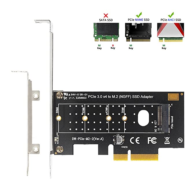 QNINE NVME PCIe Adapter, M 2 NVME SSD to PCI Express 3 0 Host Controller  Expansion Card with Low Profile Bracket, PCIe NVME Adapter for PC Desktop,