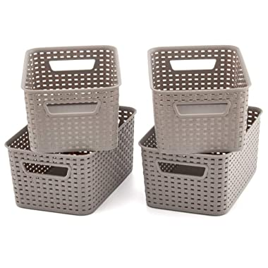 EZOWare Small Gray Plastic Knit Baskets Shelf Storage Organizer Perfect for Storing Small Household Items - Pack of 4