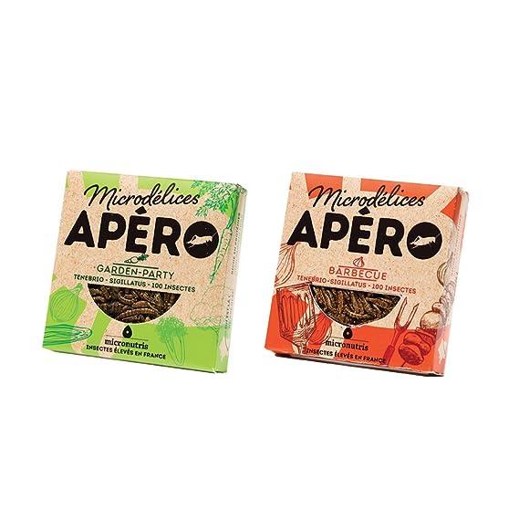 2 Snacks diferentes de 100 insectos comestibles con sabor a barbacoa y fiesta en el jardín