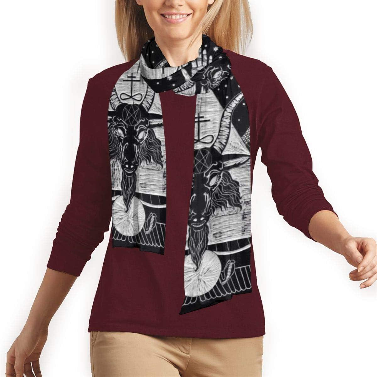 Pentagram Demon Satanic Goat Head Scarf For Men Women Lightweight Fashion Long Luxurious Scarves Shawl Wrap Unisex