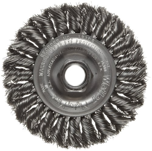 (Weiler Dualife Standard Wire Wheel Brush, Threaded Hole, Steel, Partial Twist Knotted, 4