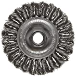 """Weiler Dualife Standard Wire Wheel Brush, Threaded Hole, Steel, Partial Twist Knotted, 4"""" Diameter, 0.014"""" Wire Diameter, 5/8-11"""" Arbor, 7/8"""" Bristle Length, 1/2"""" Brush Face Width, 20000 rpm"""