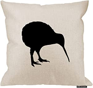 HGOD DESIGNS Kiwi Bird Pillow Cover - Decorative Pillow - Kiwi Pillow - New Zealand National Symbol Print Cushion - Bird Throw Pillow 18 x 18 inches