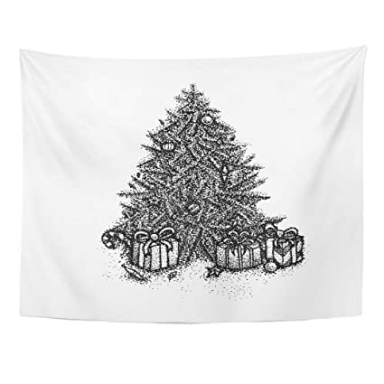 Amazon Com Emvency Wall Tapestry Black Dotwork Christmas Tree Of