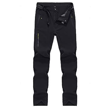 YAWHO Ligeros Pesca esqu/í Camping para Escalada con cintur/ón. de Secado r/ápido de Forro Polar Pantalones de Senderismo para Hombre Gruesos