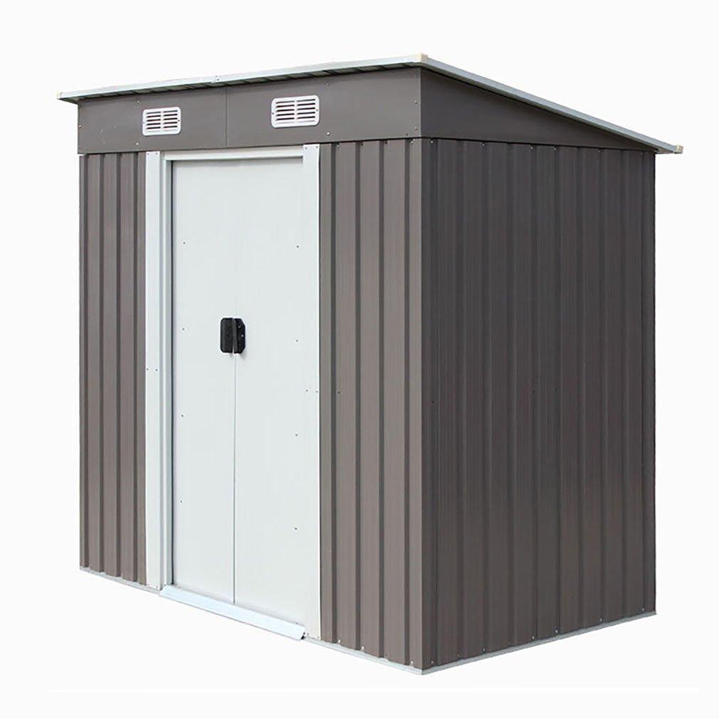 4 6 Outdoor Steel Metal Garden Storage Shed Tool House W Sliding Door