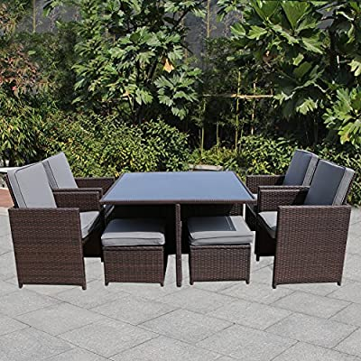 MAGIC UNION 9 Piece Outdoor Rattan Dining Set All Weather Wicker Patio Lawn  Garden Furniture