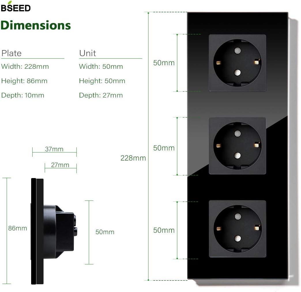 BSEED Enchufe de pared 1 Gang Panel de cristal Schuko Enchufe Negro toma simple 16A a 250V enchufes de extensi/ón 86mm