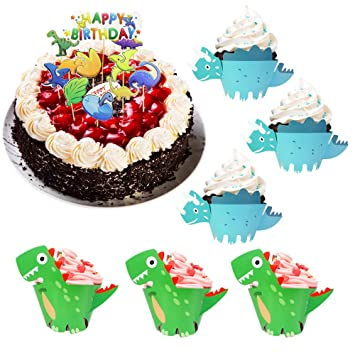 DECARETA 48 PCS Cupcake Dinosaurio, Envolturas de Magdalenas ...