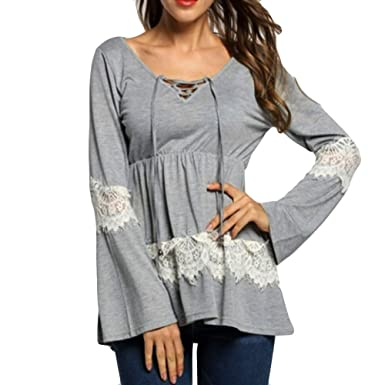 701ddd7e78ce6 Blouses for Women Solid Long Sleeve Shirts V-Neck High Waist Bandage Lace  Patchwork Loose Blouse Tops Black at Amazon Women s Clothing store