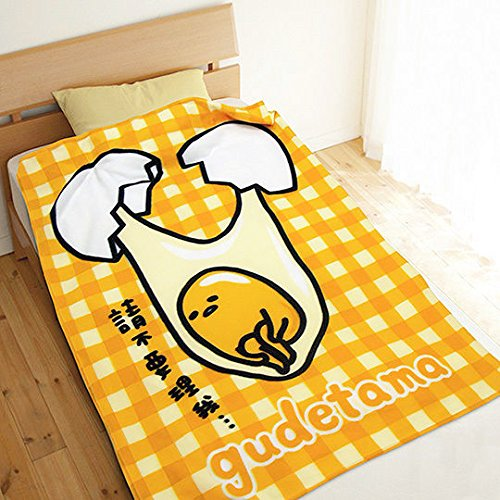 Gudetama Soft Blanket Warmer Fleece Blanket Yellow Grid 100x150 cm / 39.3'x59'