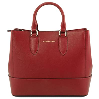 Tuscany Leather TL Bag Sac à main en cuir Saffiano Rouge WWXi7ln8