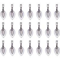 PandaHall 50 stuks Legering Lijm-op Platte Pad Bails Hanger Cabochon Sieraden Bevindingen, Antiek Zilver, Bladvorm