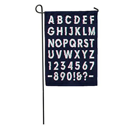Semtomn Garden Flag VHS Glitch Distortion Effect Letters and Numbers Dark  Futuristic Alphabet Home Yard House Decor Barnner Outdoor Stand 12x18  Inches