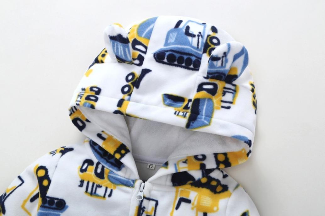 URSING S/äugling Baby Jungen M/ädchen Dicker Bagger Langarm Vlies Strampler Overall Jumpsuit mit Kapuze Outfit Kleidung Winter Schneeanz/üge Kapuzenpullis Klassische /übergang insgesamt Wei/ß, 6M