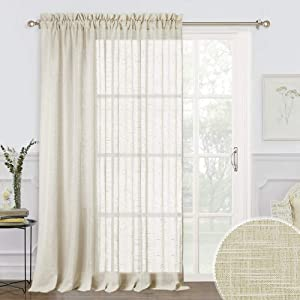 RYB HOME Sheer Curtains 100 - Linen Fabric Privacy Sheer Drapes for Living Room Window Semi Transparent Voile Drapes Sunlight Glare Filter for Dining Family Room, Warm Beige, 100 x 84 inches