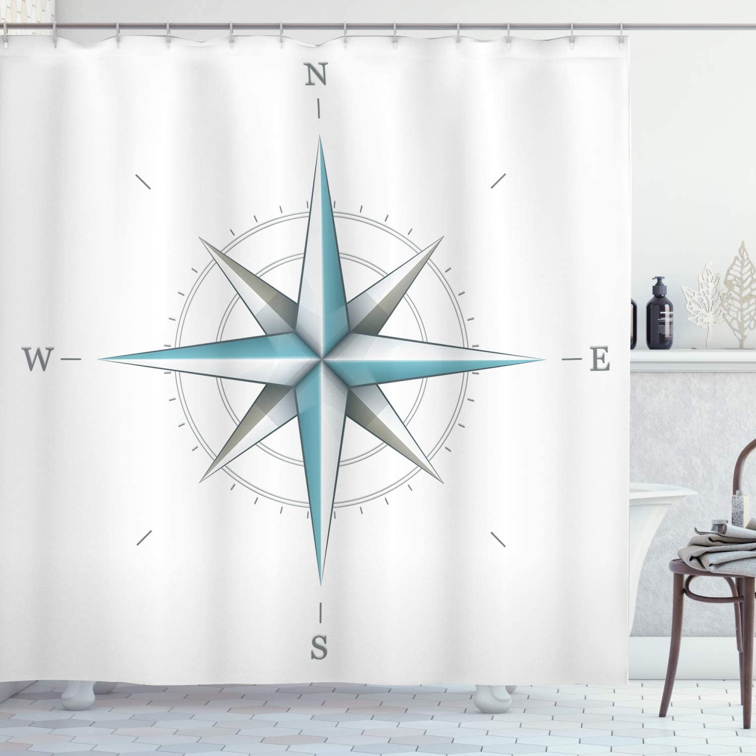 """Ambesonne Compass Shower Curtain, Antique Wind Rose Diagram for Cardinal Directions Axis of Earth Illustration, Cloth Fabric Bathroom Decor Set with Hooks, 84"""" Long Extra, Teal Dimgray"""