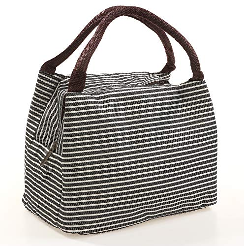 (ULUIKY Lunch Bag Tote Insulated Lunch Box for Women Men Reusable Stripe Inner Aluminum Foil Lunch Bag for Kids (Black/White striped))