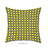 VROSELV Custom Cotton Linen Pillowcase Modern Decor Geometric Image Squares and Borders Contemporary Minimalist Art for Bedroom Living Room Dorm Yellow and Charcoal Grey 20''x20''