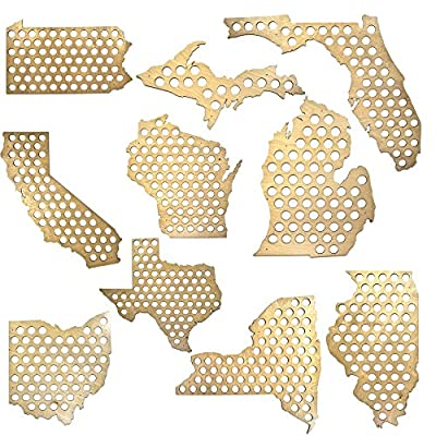 All 50 States Beer Cap Map - Glossy Wood - Skyline Workshop