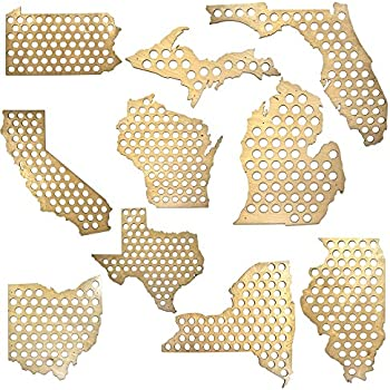 All 50 States Beer Cap Maps Michigan Beer Cap Map Mi Glossy Wood Skyline Workshop
