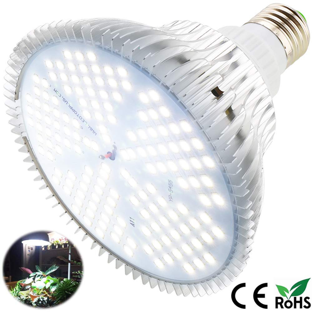 100W Led Grow Light Bulb, Sunlike Full Spectrum Grow Lights for Indoor Plants, E26 150 LEDs Plant Light Bulb for Hydroponics Indoor Garden Greenhouse Houseplants Vegetable Tobacco (White 100W)