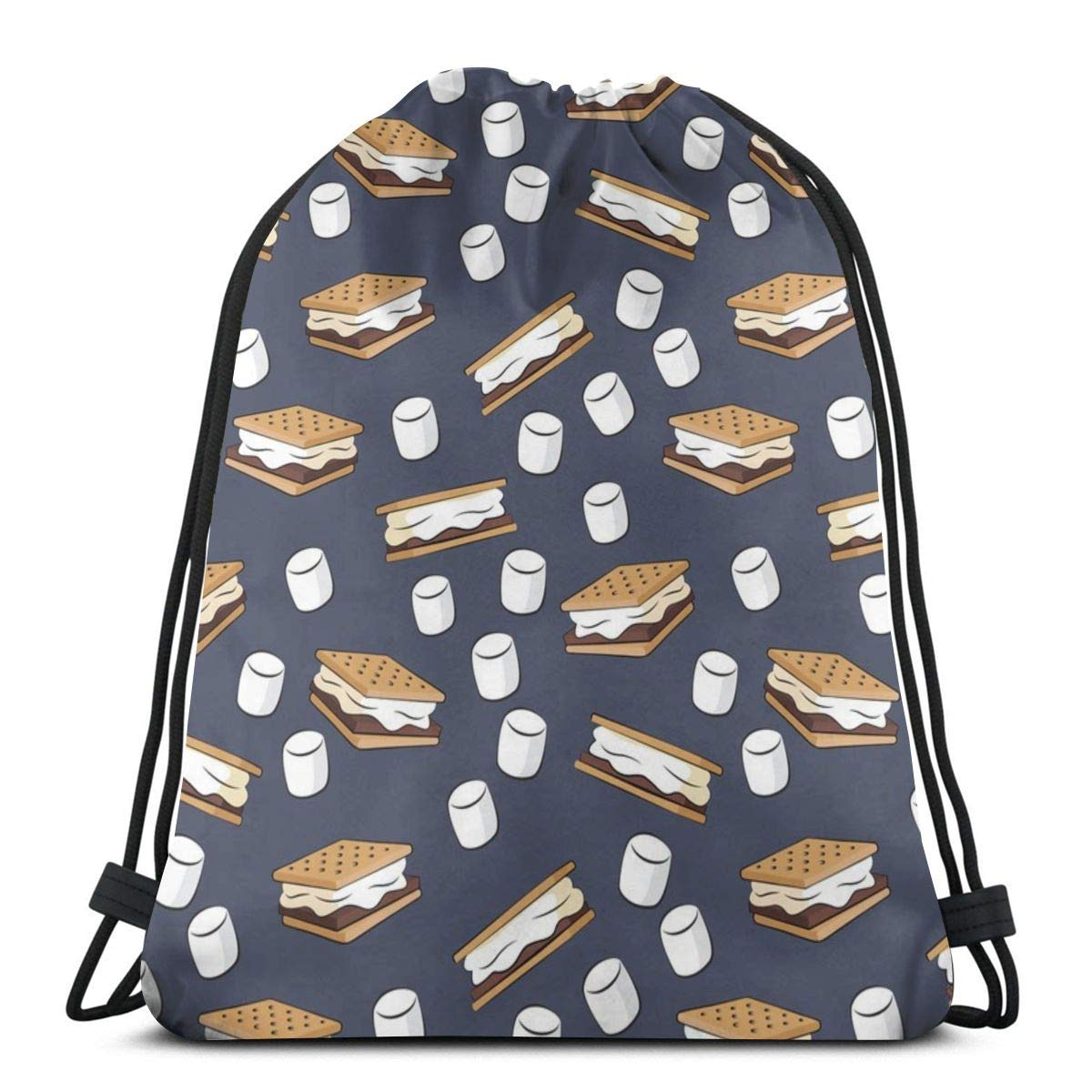 Smores and Marshmallows on Adventure Blue/_52606 Custom Drawstring Shoulder Bags Gym Bag Travel Backpack Lightweight Gym for Man Women 16.9x14