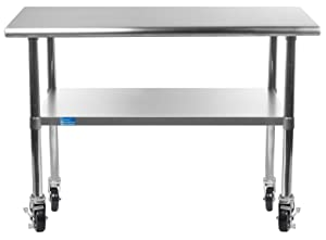 "Work Table with 4 Casters Wheels Stainless Steel Food Prep Worktable 24"" X 36"". Height Is 34"""
