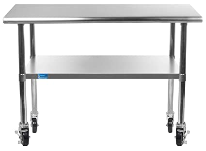 Incroyable Work Table With 4 Casters Wheels Stainless Steel Food Prep Worktable  24u0026quot; X 36u0026quot;