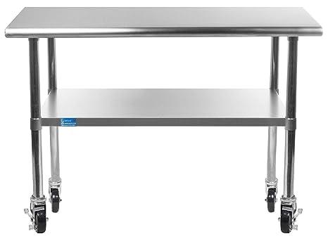 Work Table with 4 Casters Wheels Stainless Steel Food Prep Worktable 24\