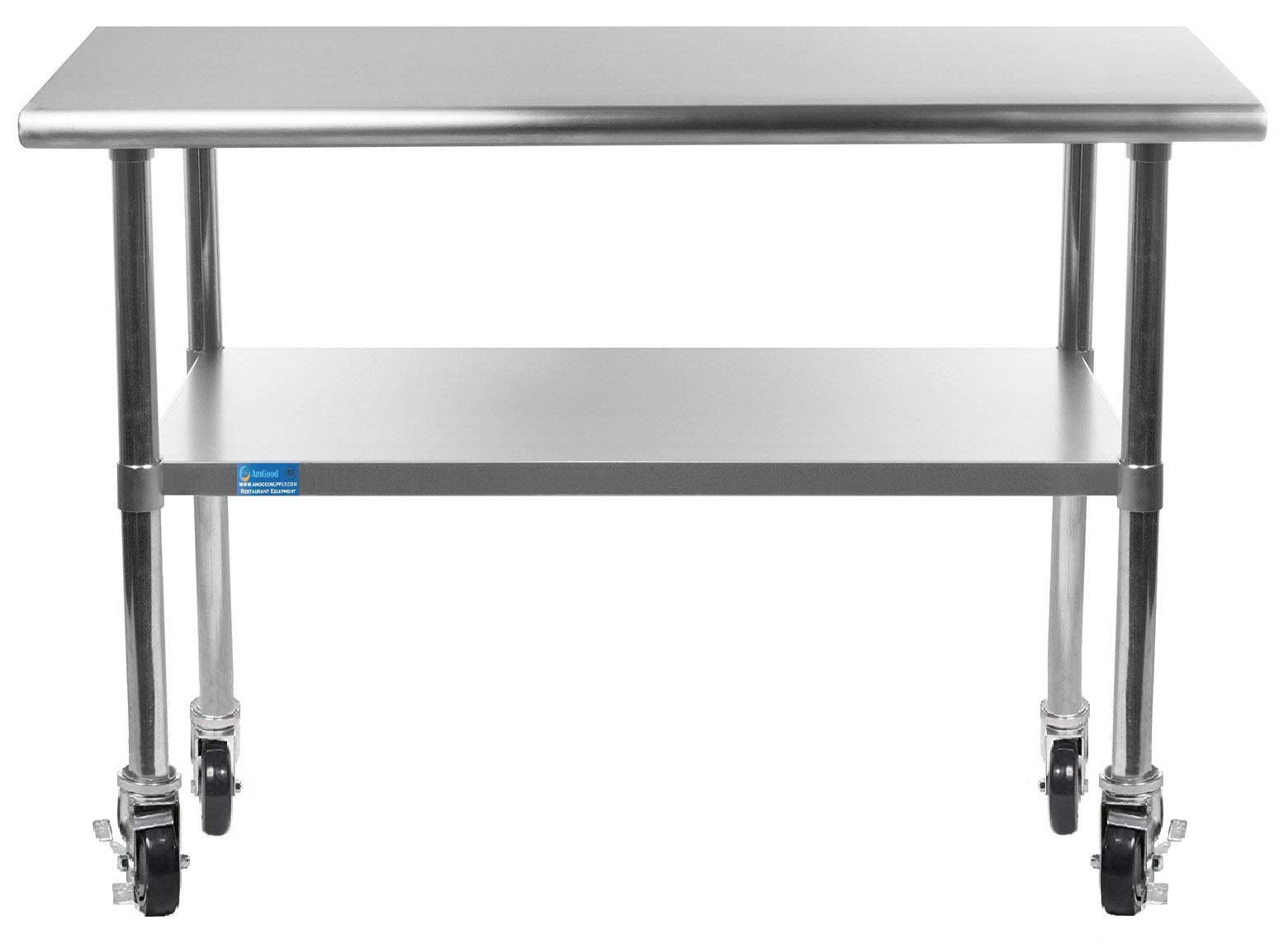 AmGood Stainless Steel Work Table - with Undershelf & Casters (Wheels) | Food Prep | Utility Work Station | NSF Certified | All Sizes (36'' Length X 18'' Width)