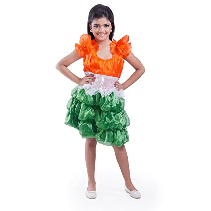 e67e41d9b2e Fancydresswale Tricolor Frock for Girls- Independence Day Fancy Dress  Costume (7-9 Years)