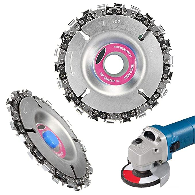 4 Inch Grinder Disc, KOBWA Circular Saw Blade and Chain 22 Tooth Fine Cutting Set for 100/115 Angle Grinder, Finish Cutting & Engraving of Wood, Plastic, ...