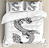Japanese Dragon Queen Size Duvet Cover Set by Ambesonne, Ancient Far Eastern Culture Esoteric Magical Monster Symbolic Thai Style, Decorative 3 Piece Bedding Set with 2 Pillow Shams, Black White