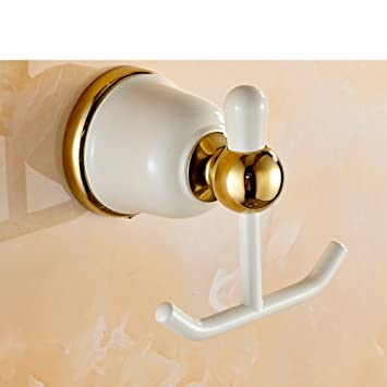 wall-mounted hooks/ creative coat and hat hook/Gold-plated Grill white
