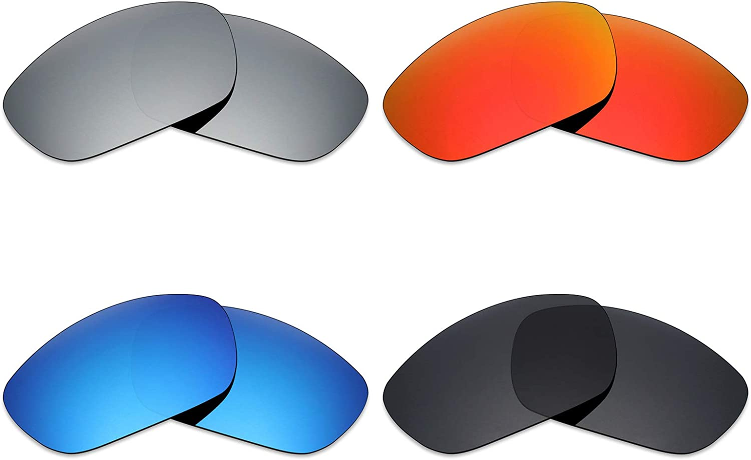 Mryok 4 Pair Polarized Replacement Lenses for Wiley X Brick Sunglass Stealth Black//Fire Red//Ice Blue//Silver Titanium