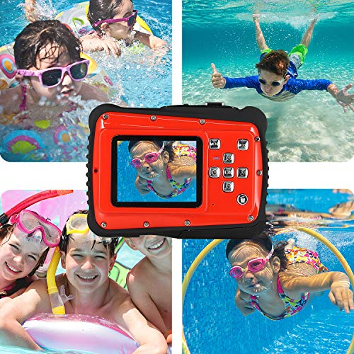 Waterproof Digital Camera for Kids, ishare Update Underwater Camera with 2.0'' LCD, 8X Digital Zoom, 1080p Flash and Mic for Girls/Boys(RED) by ISHARE (Image #1)