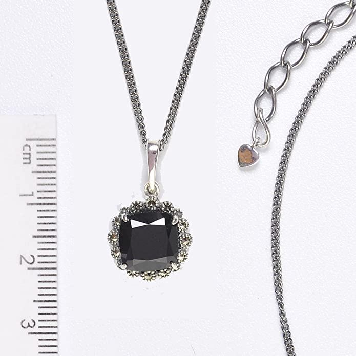 Esse Marcasite Sterling Silver Square Cushion Cut Black Spinel and Marcasite Pendant of 45.5cm Chain 5cm Extender 9gIJ9N8