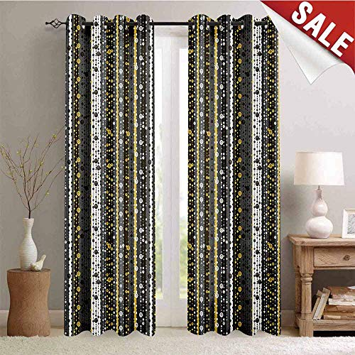 (UNOSEKS LANZON Abstract Gromets Curtain Backdrop, Vertical Stripes with Dots in Retro Revival Line Art Ornament Indoor Darkening Curtains, Multicolor, W84 x L84 Inches)
