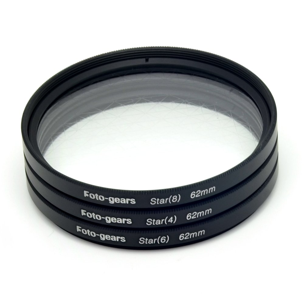 62mm Star-Effect Cross Filter Starburst Twinkle Effect Tiffen Filters 4 6 8 Point Set for Canon Nikon