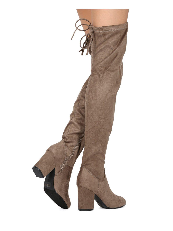 fba0ebd79b36b Mujeres muslo alto Sobre el bloque de rodilla Bota de tacón grueso -  Disfraz de Cosplay Cordón de fiesta elegante - HE87 por Refresh Copllection  Taupe Faux ...